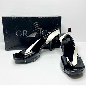 Vintage Grace Patent Slingback with Cutout Heels